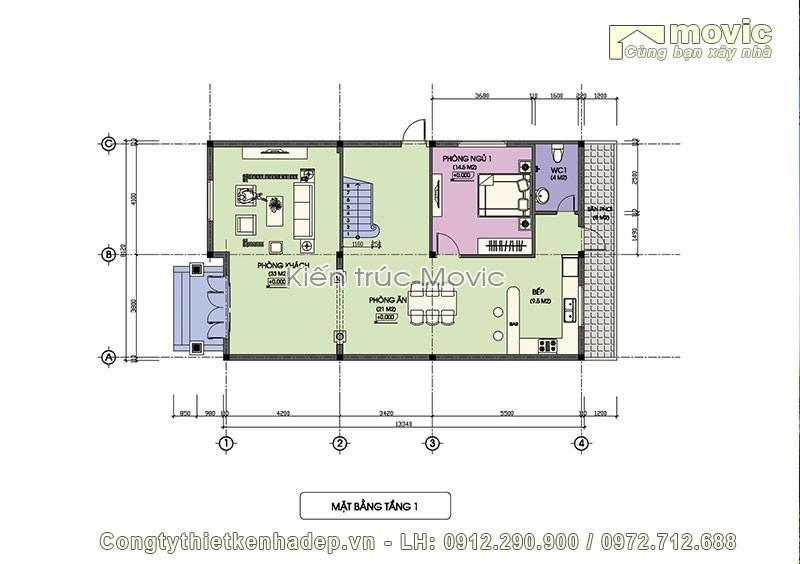 Mặt bằng tầng 1 trong mẫu biệt thự vườn 3 tầng mái thái
