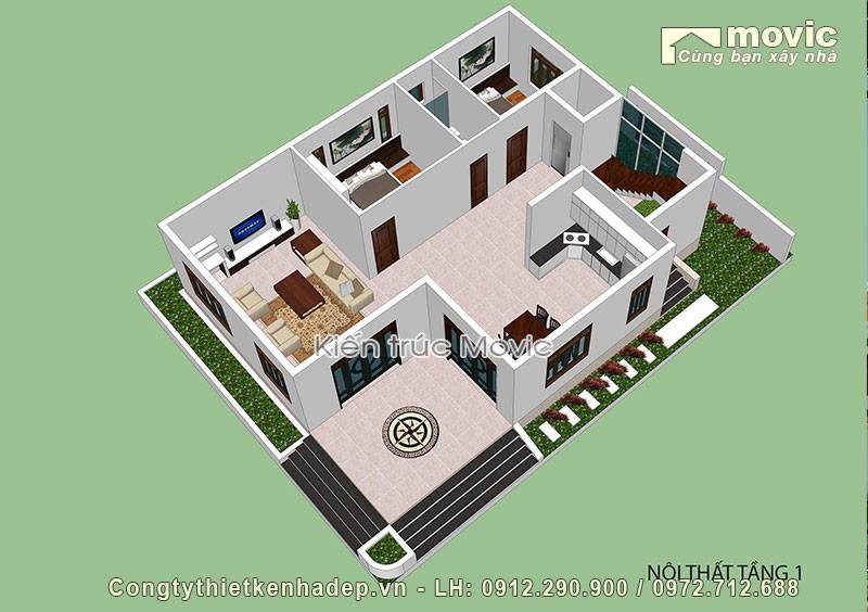 Mặt bằng nội thất tầng 1 trong biệt thự vườn 4 tầng