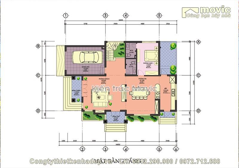 Mặt bằng nội thất biệt thự 4 tầng mái thái