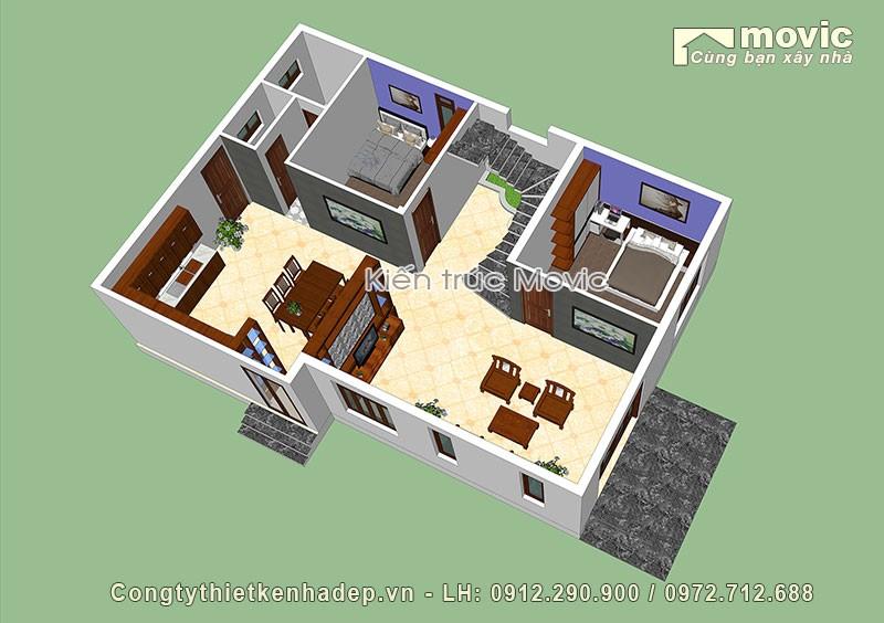 phối cảnh nội thất Biệt thự 3 tầng mái thái 120m2