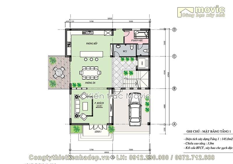 Mặt bằng tầng 1 trong biệt thự hiện đại 4 tầng mái thái