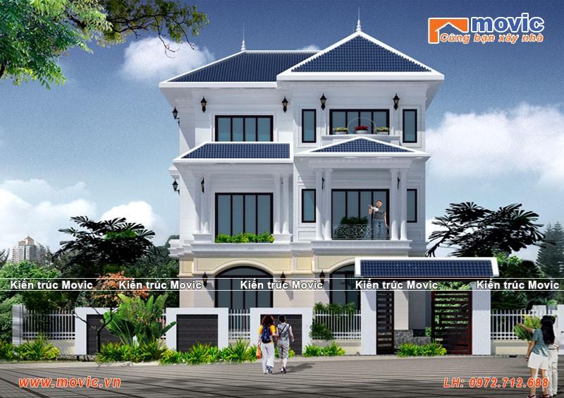 Mẫu nhà đẹp 3 tầng đơn giản tân cổ điển