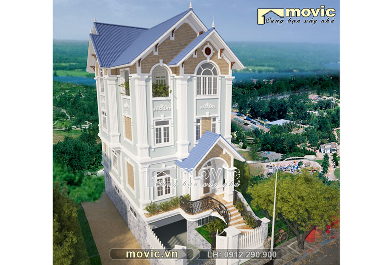 Mẫu nhà 3 tầng đẹp tân cổ điển mái thái