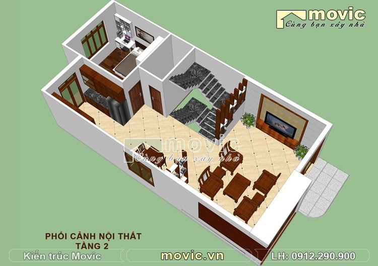 Mặt bằng mẫu nhà 3 tầng đẹp tân cổ điển mái thái