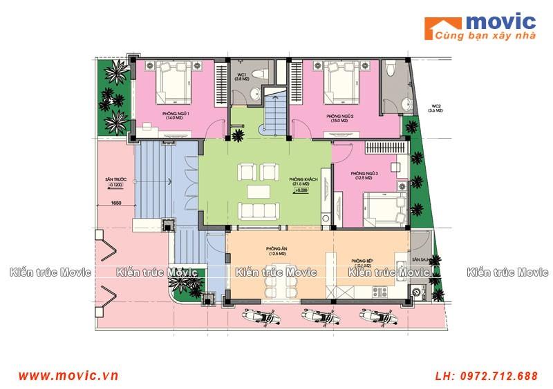 Mặt bằng mẫu nhà cấp bốn 3 phòng ngủ mái thái, diện tích 160m2