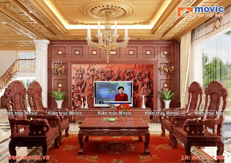 Phối cảnh phòng khách biệt thự cổ điển