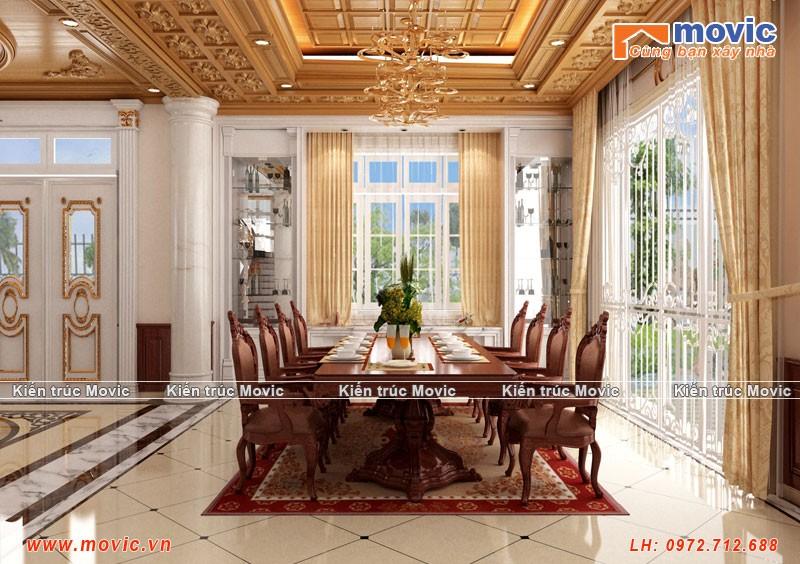 Phối cảnh phòng ăn biệt thự cổ điển