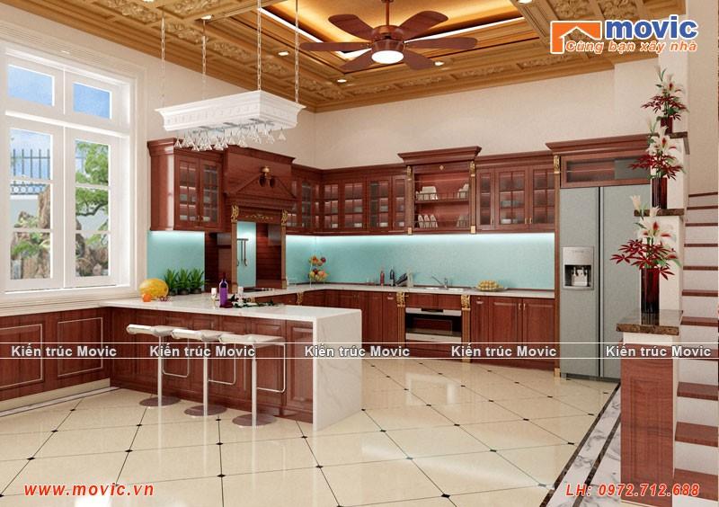 Phối cảnh phòng bếp biệt thự cổ điển