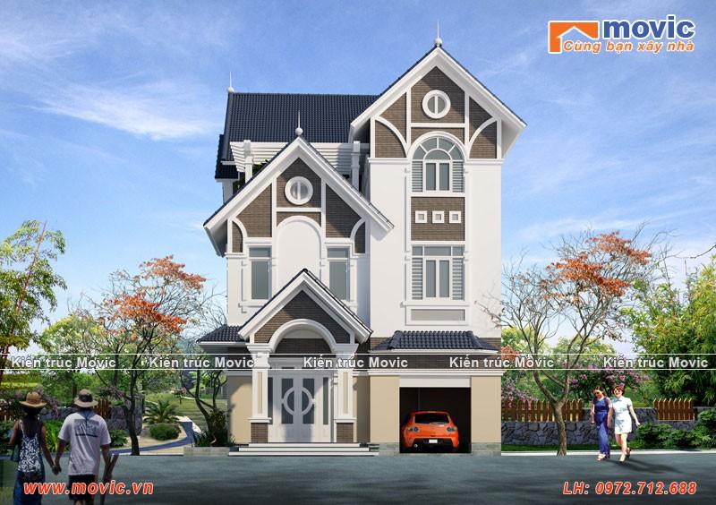 Mẫu Biệt thự 3 tầng hiện đại mái thái đẹp