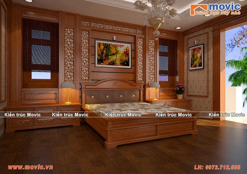 Phối cảnh nội thất phòng ngủ biệt thự cổ điển