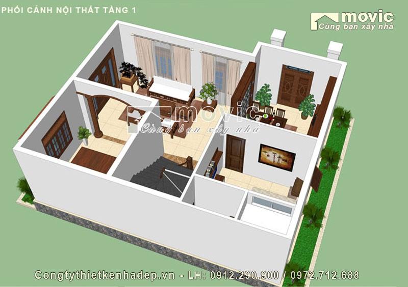 Mặt bằng nhà 2 tầng mái vát hiện đại đẹp, 04 phòng ngủ