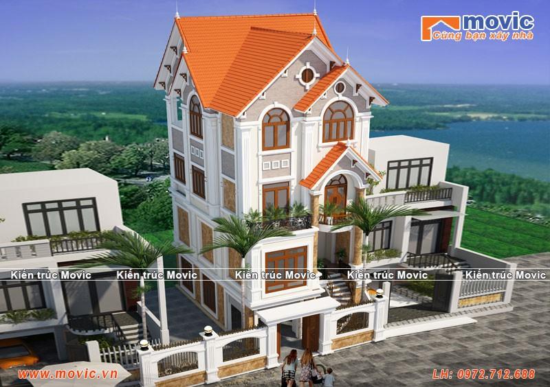 Phương án nhà 4 tầng tân cổ điển mái thái đẹp lộng lẫy sang trọng