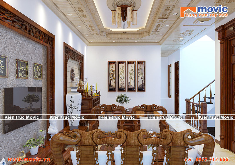 Nội thất nhà 4 tầng tân cổ điển mái thái đẹp lộng lẫy sang trọng