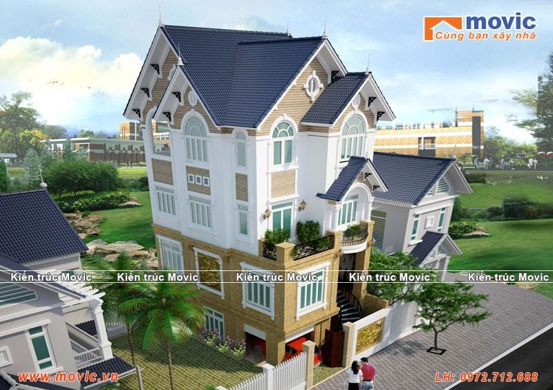 Mẫu nhà 4 tầng tân cổ điển mái thái đẹp lộng lẫy sang trọng