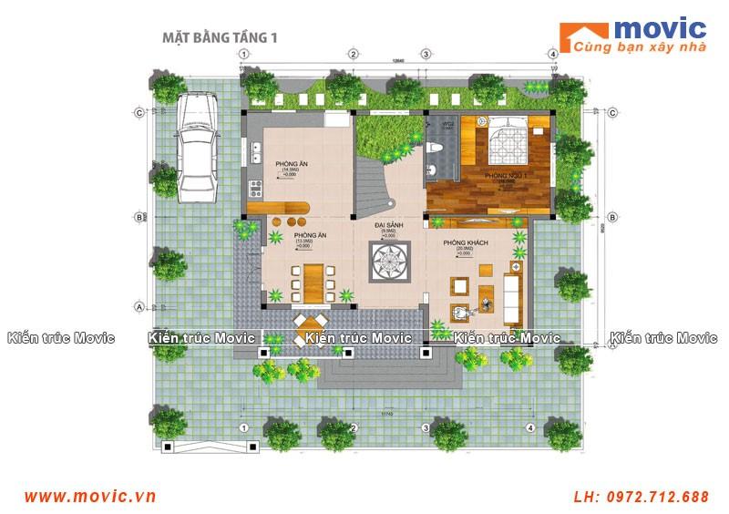 Mặt bằng biệt thự tân cổ điển 3 tầng mái thái, đơn giản 04 phòng ngủ