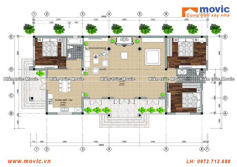 Mặt bằng mẫu nhà 1 tầng mái thái hiện đại 03 phòng ngủ đẹp