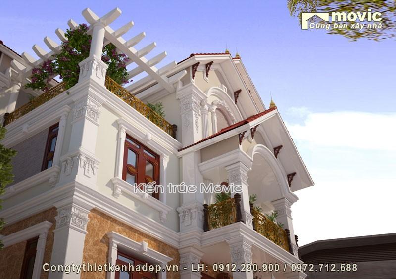 Mẫu nhà 3 tầng tân cổ điển mái thái bề thế, sang trọng