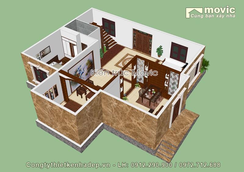 Mặt bằng mẫu nhà 3 tầng tân cổ điển mái thái bề thế, sang trọng
