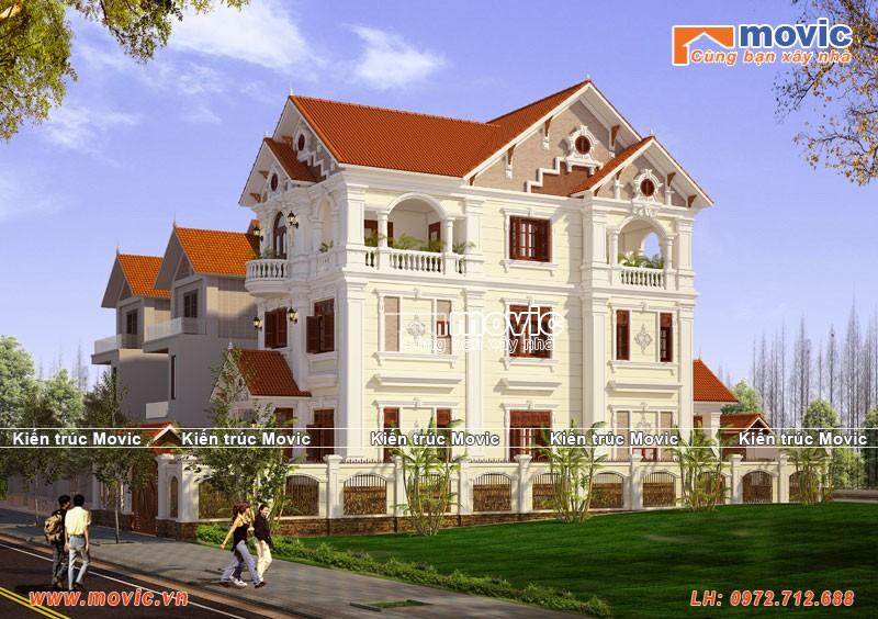 Mẫu biệt thự 3 tầng tân cổ điển đẹp, mái thái