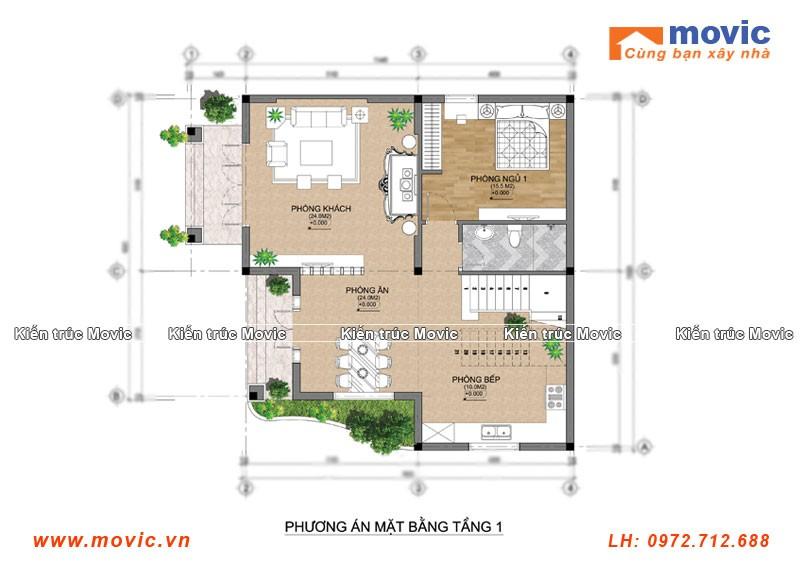 Mặt bằng mẫu biệt thự 2 tầng đẹp mái vát hiện đại đơn giản
