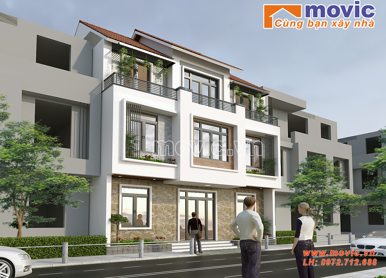 Biệt thự hiện đại 3 tầng mái thái đẹp