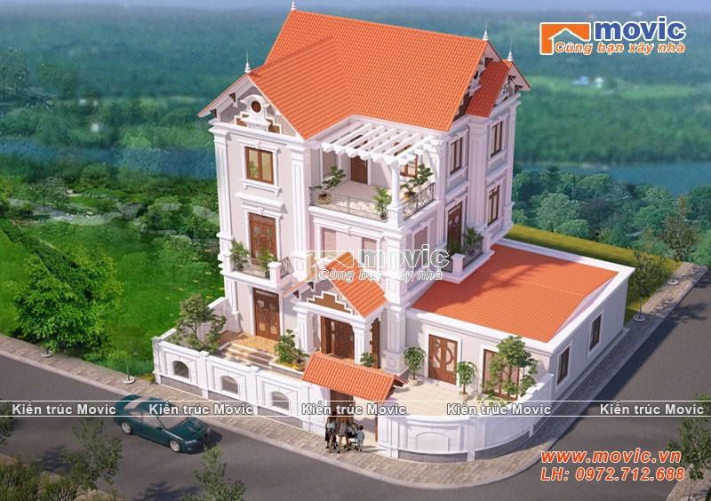 Mẫu nhà 3 tầng tân cổ điển mái thái đẹp, 5 phòng ngủ
