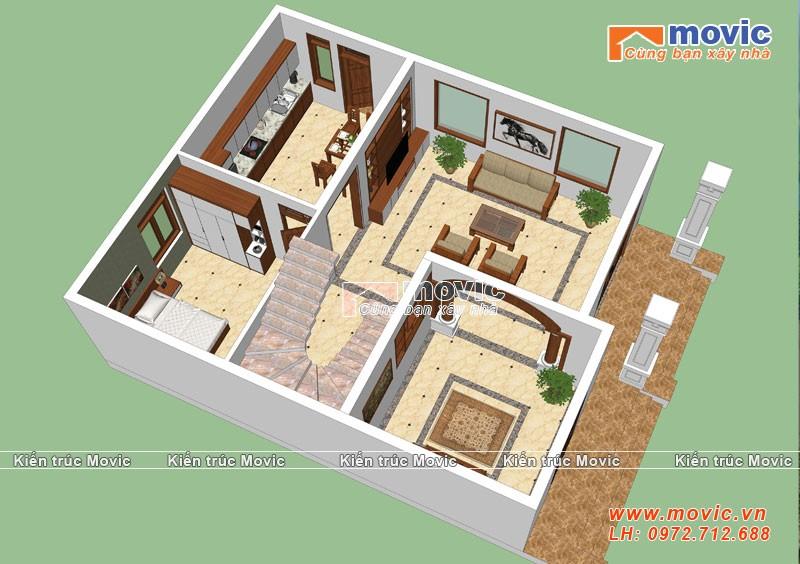 Mặt bằng mẫu nhà 3 tầng tân cổ điển mái thái đẹp, 5 phòng ngủ
