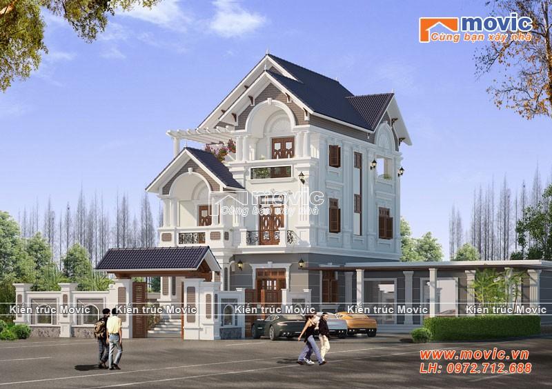 Mẫu nhà 3 tầng đẹp tân cổ điển mái thái sang trọng