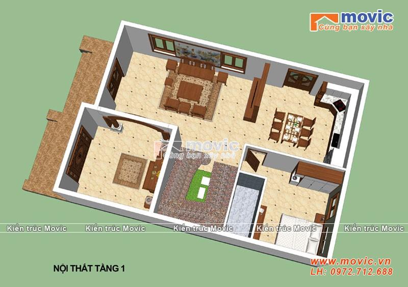 Mặt bằng biệt thự 3 tầng tân cổ điển mái thái, mặt tiền 8m