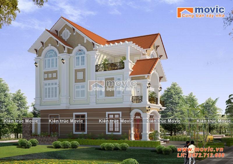 Mẫu nhà 3 tầng tân cổ điển mái thái, sang trọng đẹp lộng lẫy