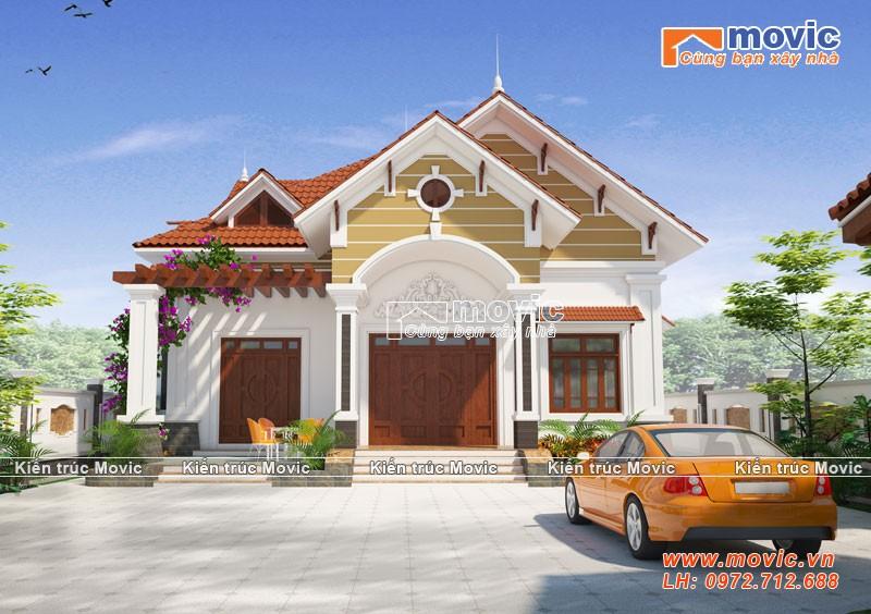 Mẫu nhà 1 tầng tân cổ điển mái thái đẹp lộng lẫy