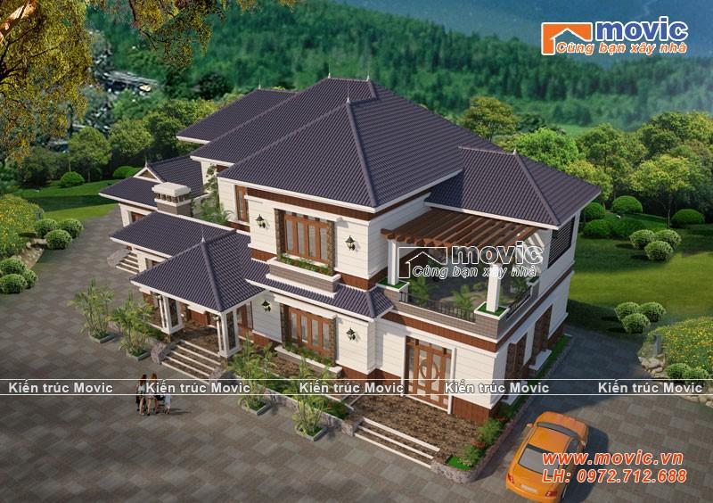 Mẫu biệt thự 2 tầng mái thái đơn giản, 5 phòng ngủ MV18232