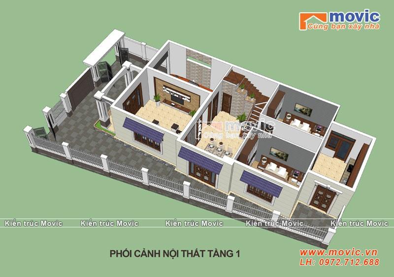 Mẫu nhà 2 tầng hiện đại đẹp mái thái với 05 phòng ngủ