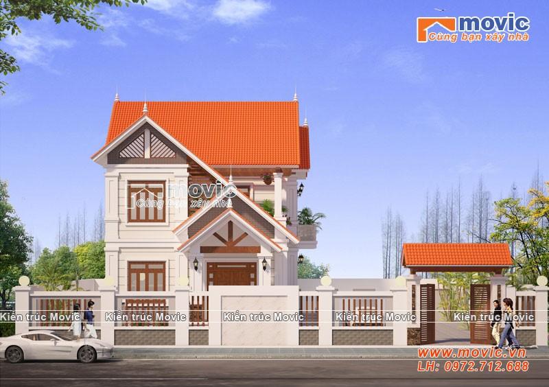 Mẫu nhà 2 tầng hiện đại mái vát đẹp, đơn giản