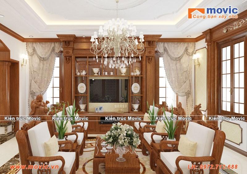 Phối cảnh nội thất phòng khách biệt thự 3 tầng tân cổ điển đẹp