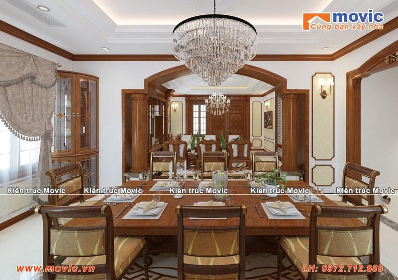 Phối cảnh nội thất phòng ăn biệt thự 3 tầng tân cổ điển đẹp