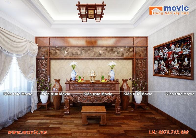 Phối cảnh nội thất phòng thờ biệt thự 3 tầng tân cổ điển đẹp