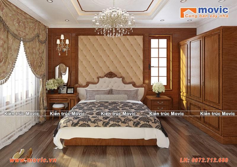 Phối cảnh nội thất phòng ngủ biệt thự 3 tầng tân cổ điển đẹp