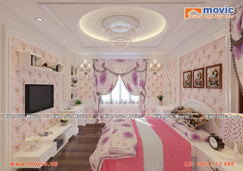 Phối cảnh nội thất phòng ngủ con biệt thự 3 tầng tân cổ điển đẹp