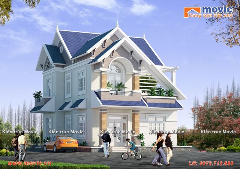 Mẫu nhà 2 tầng mái vát hiện đại đẹp, 04 phòng ngủ