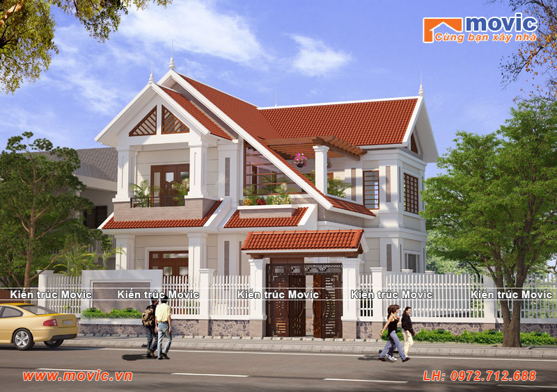 Mẫu biệt thự 2 tầng đẹp mái vát hiện đại đơn giản