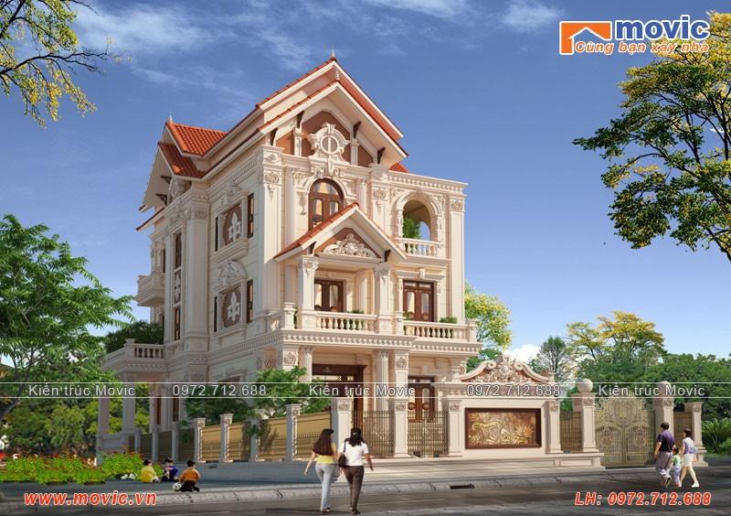 Mẫu nhà 3 tầng cổ điển Pháp đẹp, sang trọng đẳng cấp