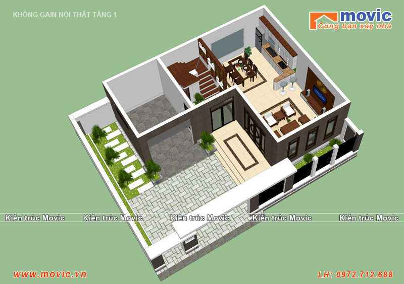 Mặt bằng tầng 1 biệt thự hiện đại 3 tầng