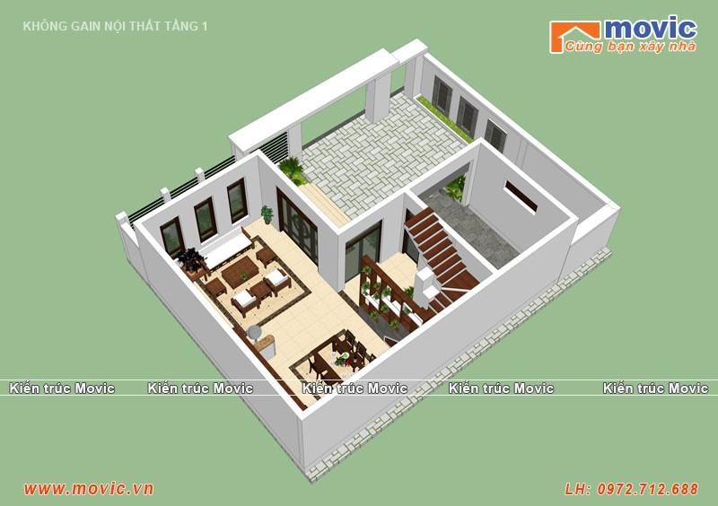 Mặt bằng tầng 2 biệt thự hiện đại 3 tầng
