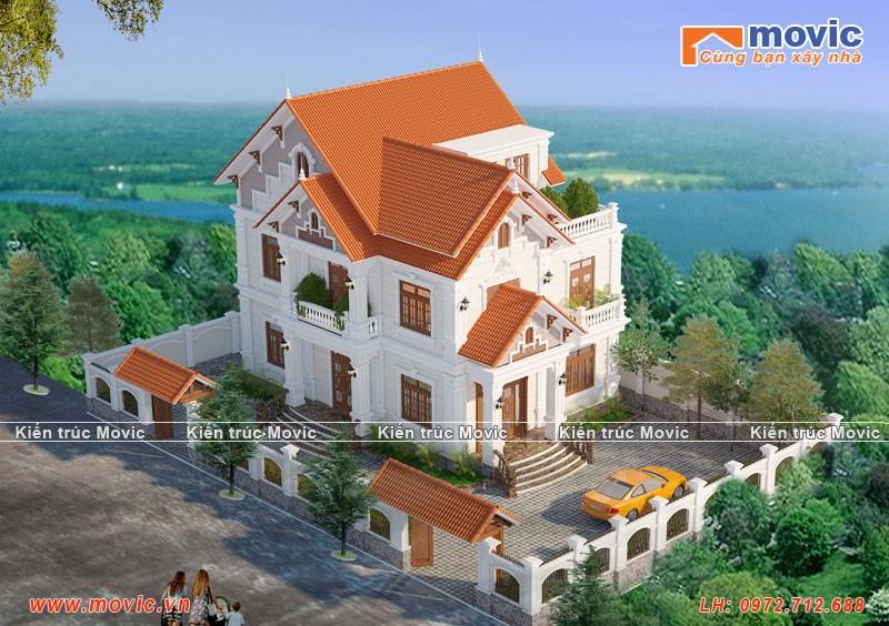 Mẫu nhà 3 tầng tân cổ điển đẹp, sang trọng diện tích 120m2