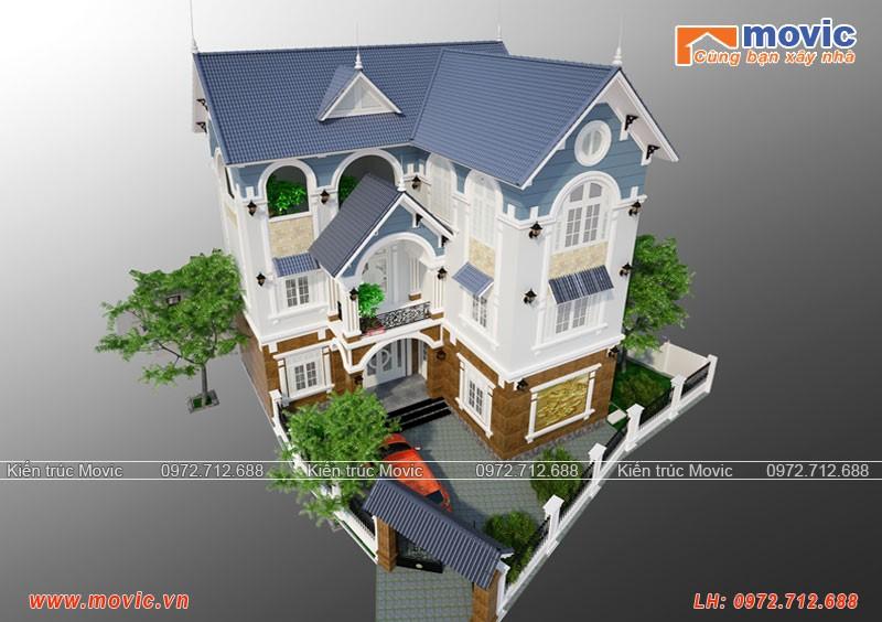Biệt thự 3 tầng chữ L mái thái