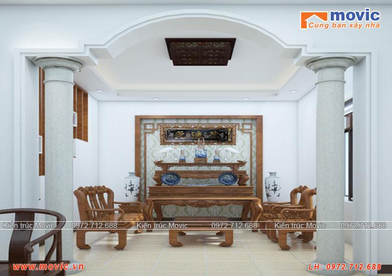 Phòng thờ mẫu biệt thự mái thái 3 tầng 100m2