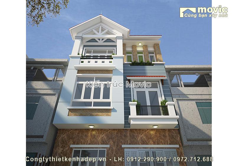 Mẫu nhà 3 tầng đẹp phong cách đơn giản hiện đại