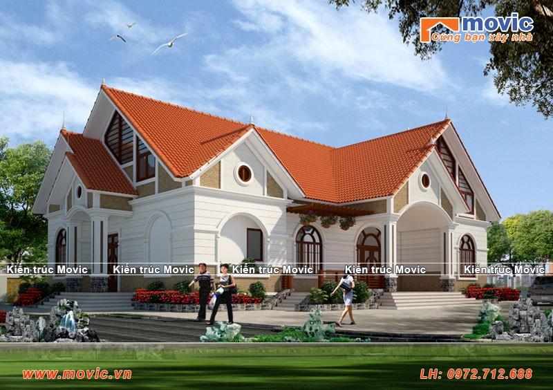 Mẫu nhà 1 tầng phong cách hiện đại mái thái