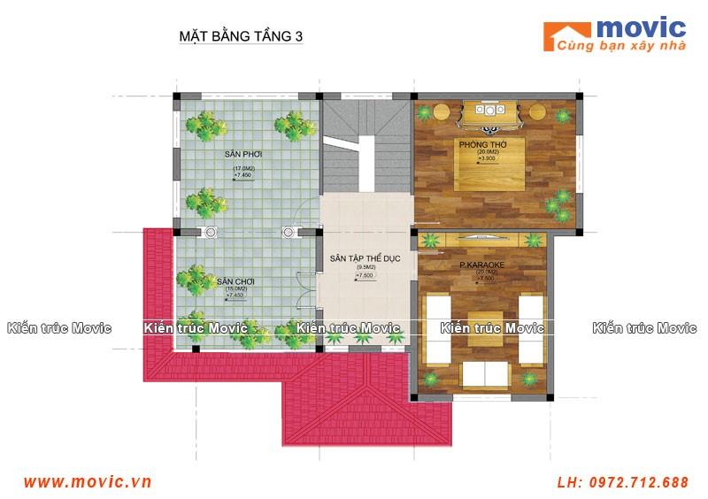 Phối cảnh nội thất biệt thự tân cổ điển 3 tầng